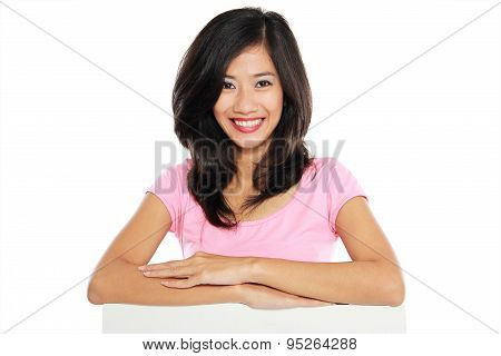 Woman Smile Brightly Holding White Blank Board