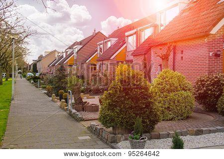 Picturesque Houses On A City Street In Meerkerk, Netherlands