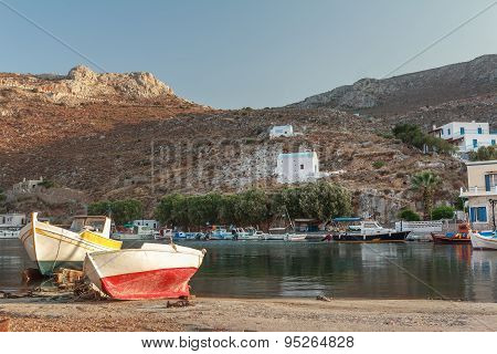 Evening view of Vathys bay on Greek Kalymnos island