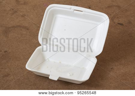 Unclean Food Foam Box With Plastic Spoon.