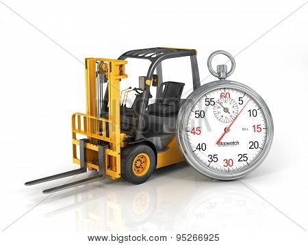 Forklift Truck With Stopwatch. Fast Shipping. Fast Loading.