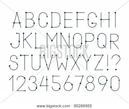 Vector Linear Alphabet Letters, Numbers And Punctuation Marks