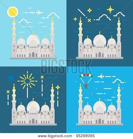 Flat Design Of Sheikh Zayed Grand Mosque Abu Dhabi