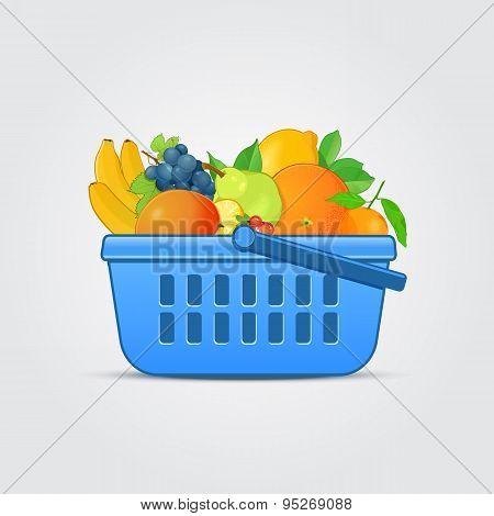 Shopping Basket with Fresh Fruit