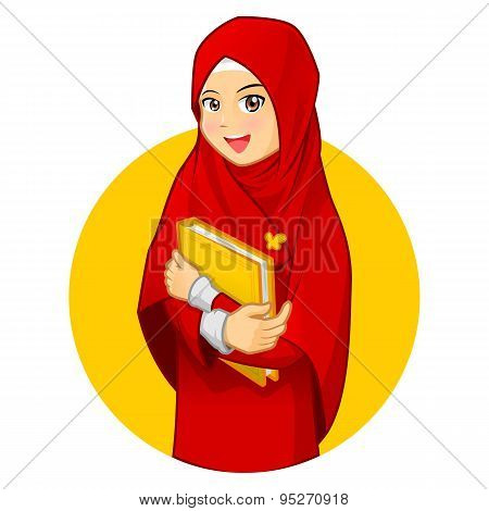 Muslim Woman with Hugging a Book Wearing Red Veil