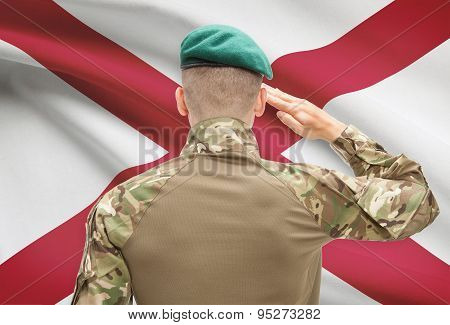 Soldier Saluting To Usa State Flag Conceptual Series - Alabama