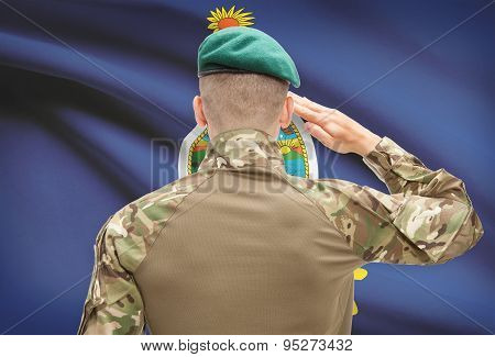 Soldier Saluting To Usa State Flag Conceptual Series - Kansas
