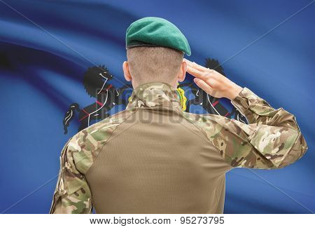 Soldier Saluting To Usa State Flag Conceptual Series - Pennsylvania