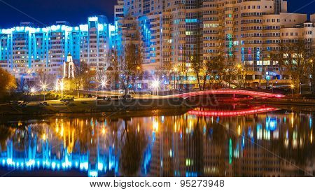 Night scene of Island of Tears In Minsk, Downtown Nemiga, Belarus