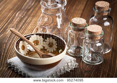 Empty Dishes On Wooden Table