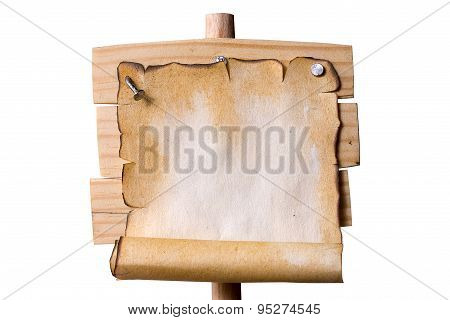 Wooden Pointer With Grunge Paper