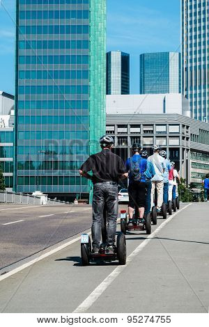 Tourists exploring Frankfurt with Segway