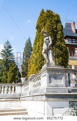 Statue In The Garden Of Peles Castle, Romania