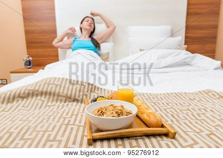 Feed Healthy Breakfast In Bed Young Woman