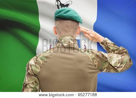 Soldier Saluting To Canadial Province Flag Conceptual Series - Yukon