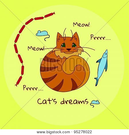 Cat's dreams - cute set of cat's favourite food: fish, mouse and sausages