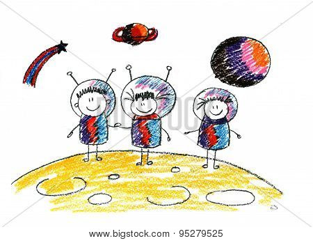 Happy kids in space.