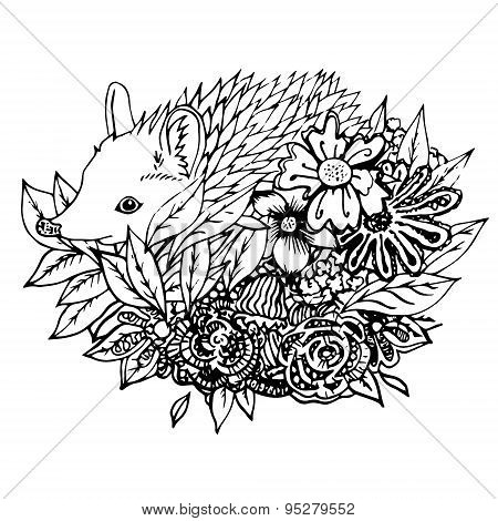 Abstract graphic hedgehog, print.