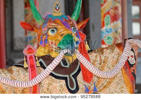 Traditional shaman's mask and costume in Ulaanbaatar, Mongolia.