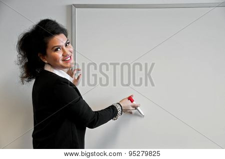 Business Woman Present With Draw Board On White Background