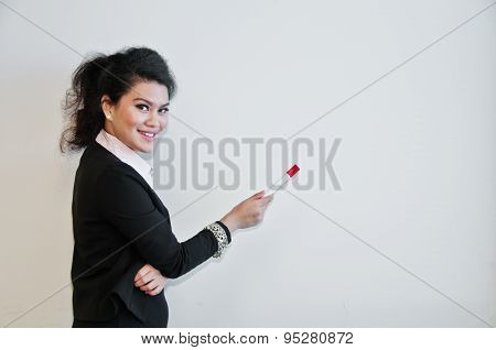 Business Woman Present With Pen On White Background And Laughting.
