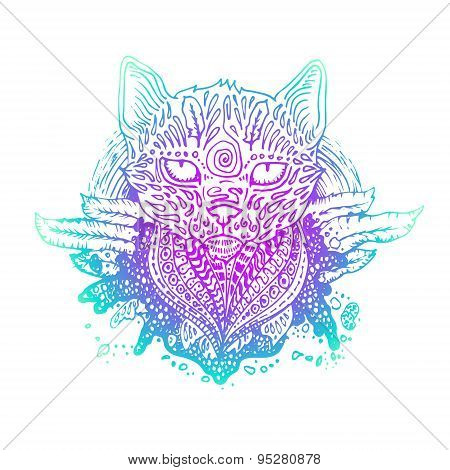 Graphic colored vector cat.