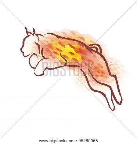 Vector watercolor lynx.