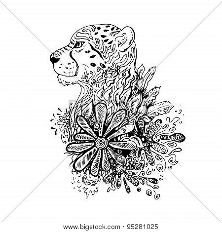 Graphic black vector cheetah.