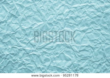 Texture Crumpled Paper Of Azure Turquoise Color