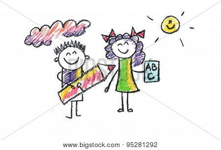 Illustration of School Kids.