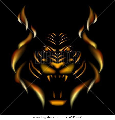 Tiger made of flame