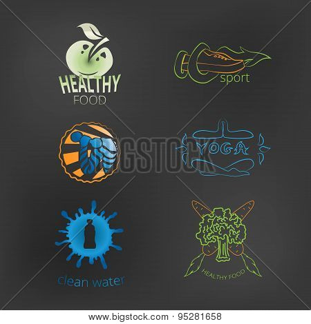 Set of logos healthy lifestyle healthy food, yoga, fitness, cle
