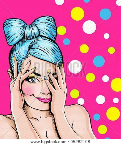 Pop Art illustration of blue head girl on pink background.Pop Art girl. Party invitation.
