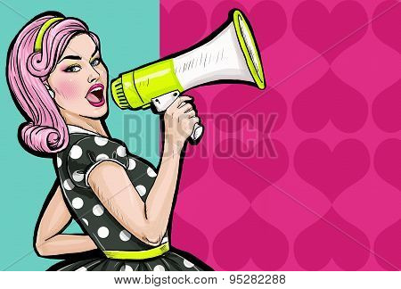 Pop art girl with megaphone. Woman with loudspeaker. Girl announcing discount or sale.