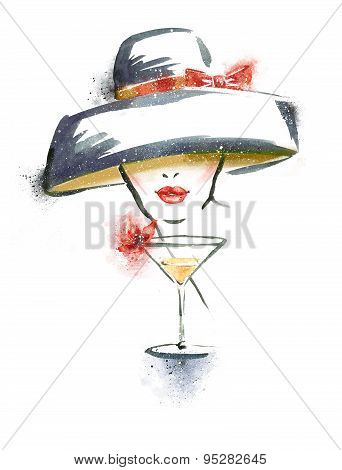 Woman portrait with hat and cocktail.Abstract watercolor .Fashion illustration.Red lips.