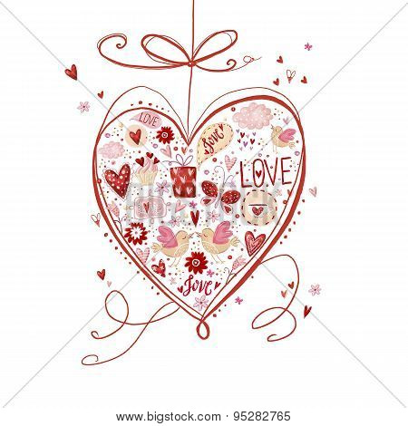 Love heart. Design element.Save the date background. Vintage background
