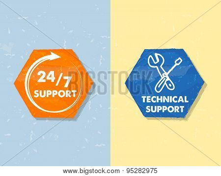 24/7 Support And Technical Support With Tools Sign, Two Grunge Hexagons Labels