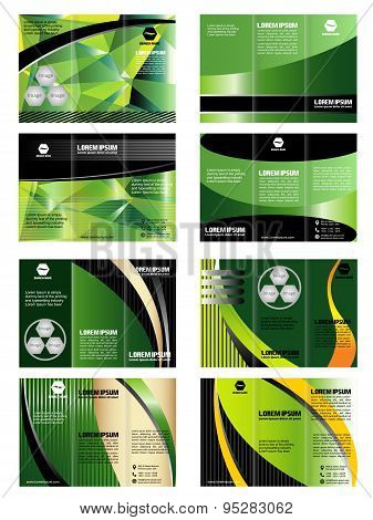 Vector collection of tri-fold brochure design templates with modern background