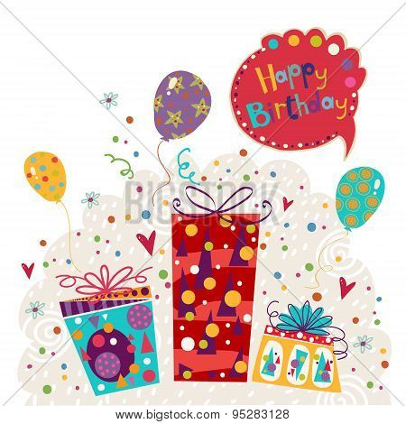 ?appy birthday greeting card with gift and balloons in bright colors.??