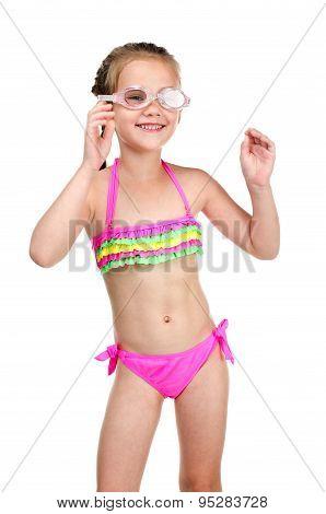 Cute Happy Little Girl In Swimsuit