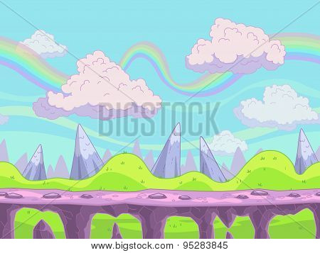Seamless Vector Cartoon Landscape