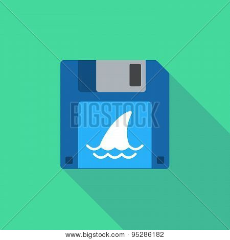 Long Shadow Floppy Icon With A Shark Fin