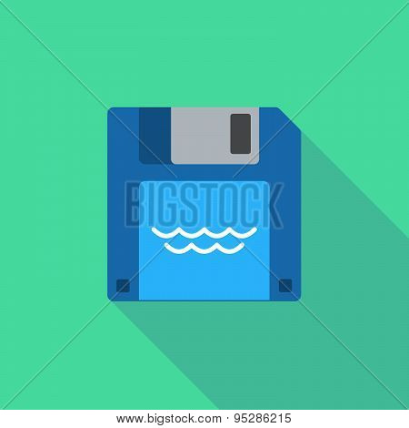 Long Shadow Floppy Icon With A Water Sign