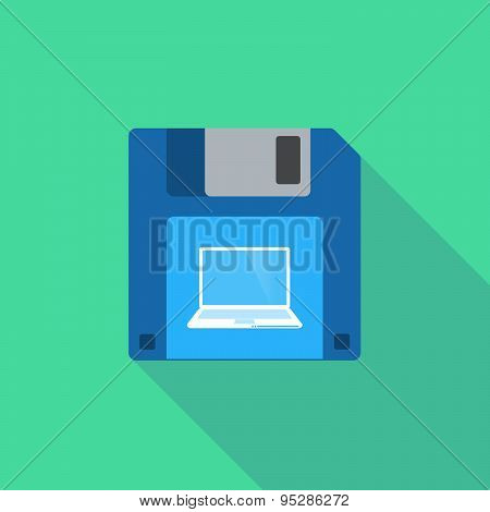 Long Shadow Floppy Icon With A Laptop