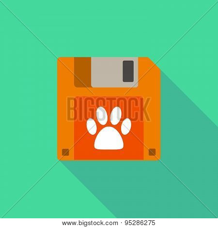 Long Shadow Floppy Icon With An Animal Footprint