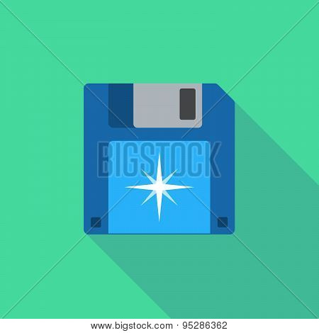 Long Shadow Floppy Icon With A Sparkle