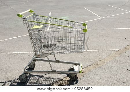Shopping Cart At Parking Lot