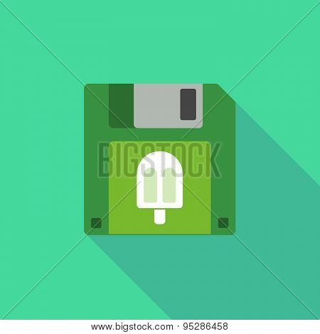 Long Shadow Floppy Icon With An Ice Cream