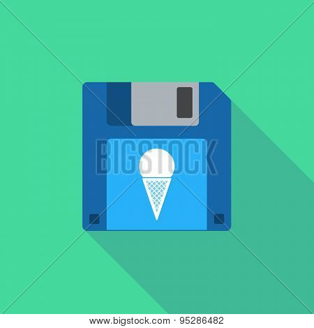 Long Shadow Floppy Icon With A Cone Ice Cream