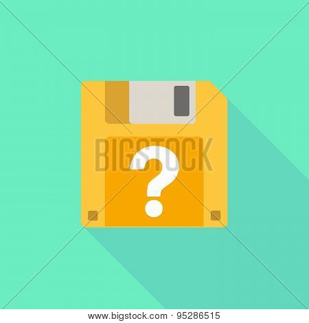 Long Shadow Floppy Icon With A Question Sign